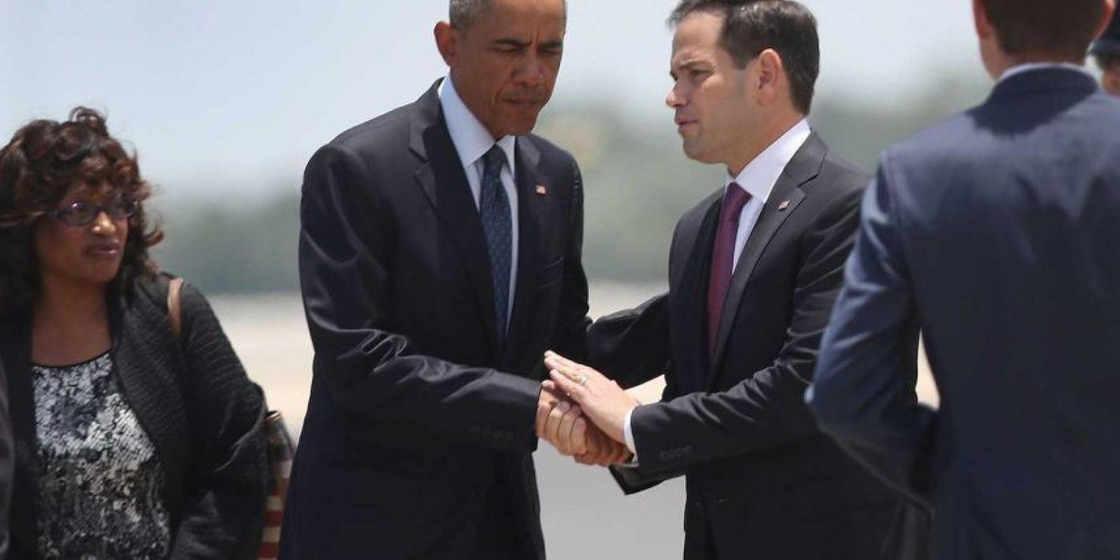 Estuvo acompañado por el senador Marco Rubio Foto: AFP