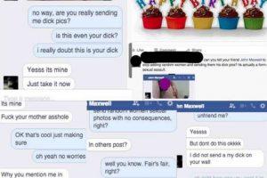 Él le manda una foto de su pene, ella la publica en un comentario de felicitaciones en su muro de Facebook. Foto:Instagram/byefelipe