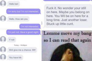 Él la acosa aunque ella dice en repetidas ocasiones que no le interesa hablar. Al final, el hombre acaba insultándola. Foto:Instagram/byefelipe