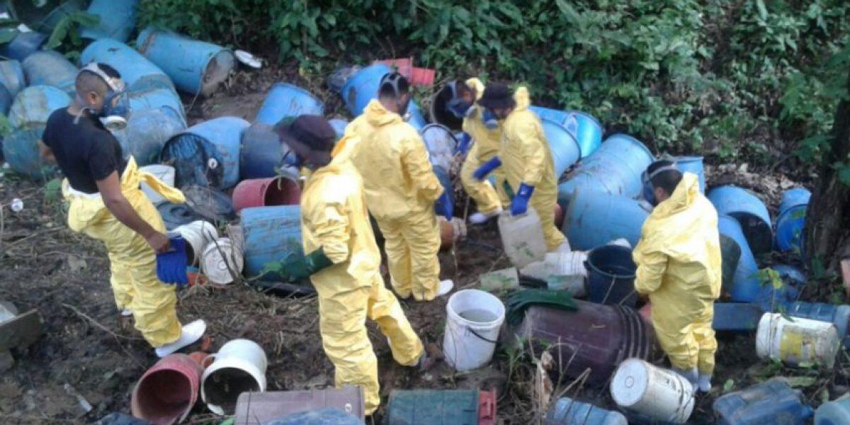 Descubren un narcolaboratorio en una finca de Suchitepéquez