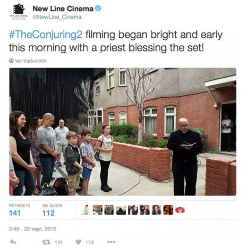 La producción pidió la bendición de un sacerdote para realizar el filme. Foto:Twitter New Line Cinema