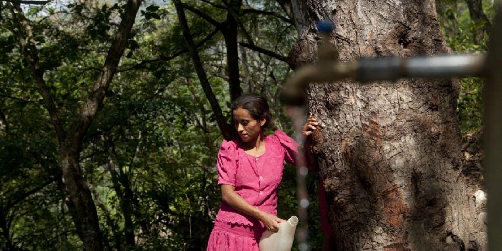 En esta fotografía del 1 de junio de 2016, una mujer espera su turno para recolectar agua en el pueblo de Shalagua, en el estado oriental Chiquimula en Guatemala. El río Jupilingo es una de las principales fuentes de agua de la zona, pero su caudal ha disminuido considerablemente y las montañas que lo rodean están casi deforestadas en su totalidad. Foto:Moises Castillo/ AP