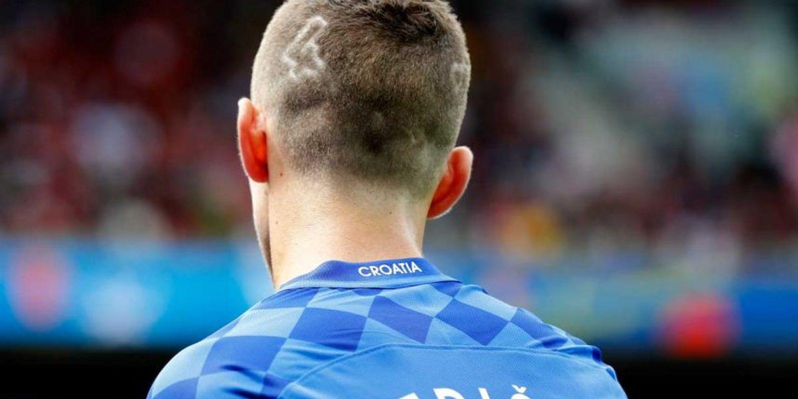 Así lució en el debut de Croacia en la Euro, con su dorsal dibujado en la cabeza. Foto:Getty Images