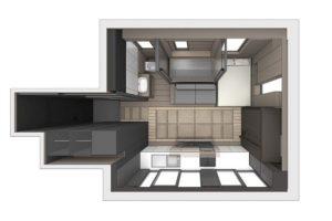 El despacho de arquitectos y diseñadores LAAb, en Hong Kong, convirtió este pequeño departamento en un espacio completamente equipado y habitable. Foto:LAAB
