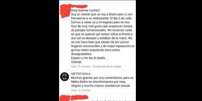 """Un cliente del restaurante mexicano Metro Bistro se quejó por tener """"mesas para homosexuales"""". Foto:vía Facebook/ Metro Bistro"""
