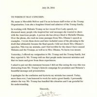 Esta es la disculpa pública queMeredith Mclver emitió sobre el discurso de Melania Trump. Foto:DonaldTrump.com
