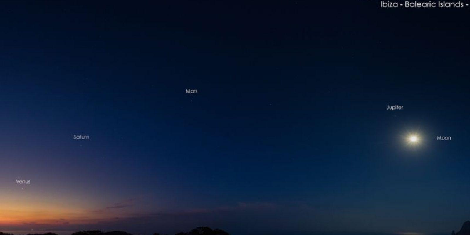 Fotografía tomada en enero de 2016, en Ibiza, España. Así se podían observar los cinco planetas. Foto:NASA.gov