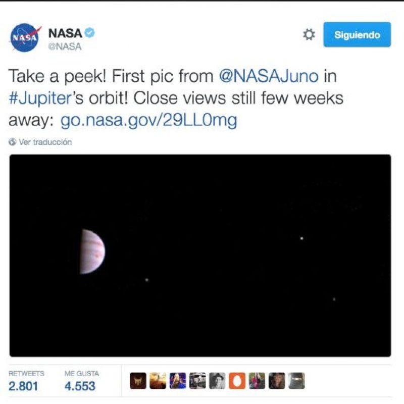 1. La primera foto tomada por la sonda Juno, que viaja a Júpiter Foto:Twitter.com/NASA