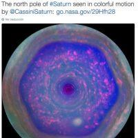 4. El Polo Norte de Saturno, captado por la Sonda Cassini Foto:Twitter.com/NASA