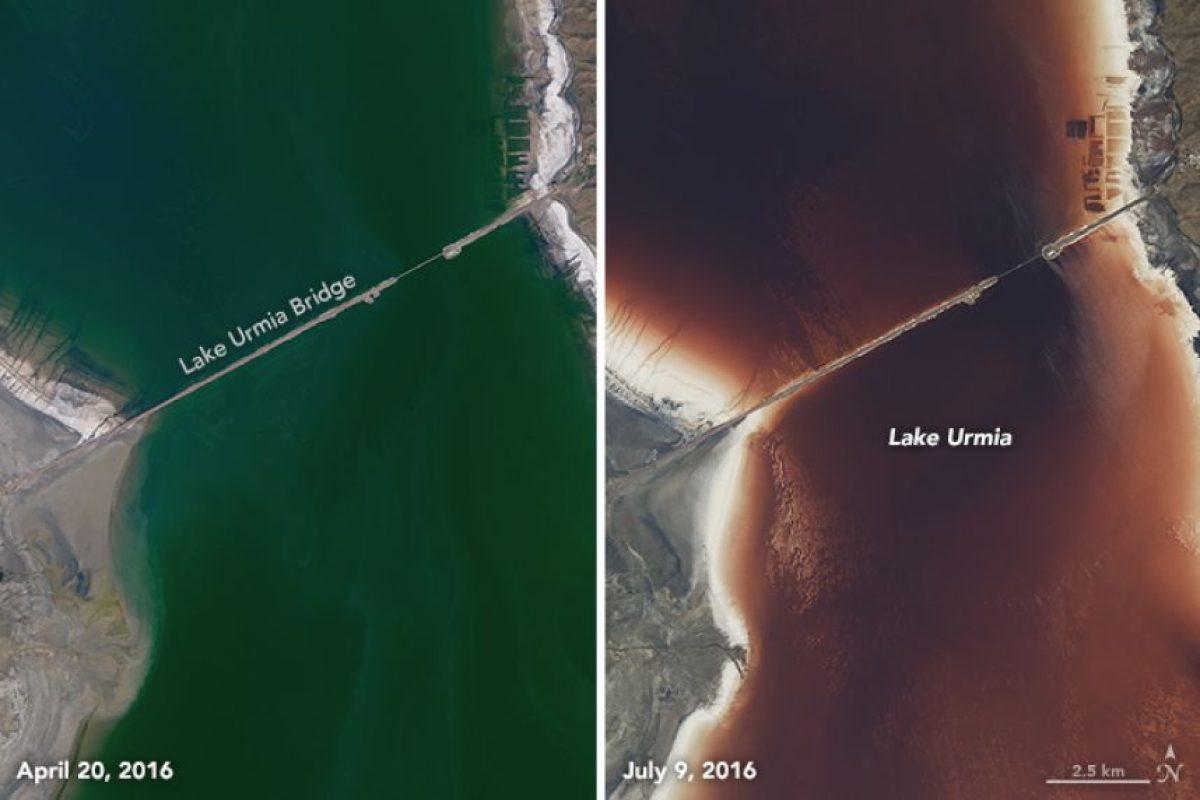 Así cambió de color en menos de tres meses Foto:NASA