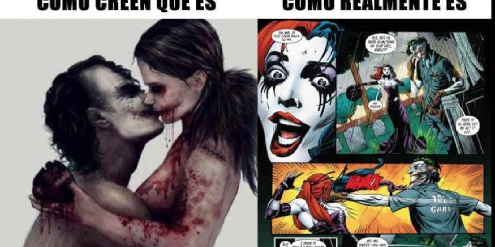 Así no vean la terrible relación abusiva que tiene con El Joker. Foto:vía Twitter