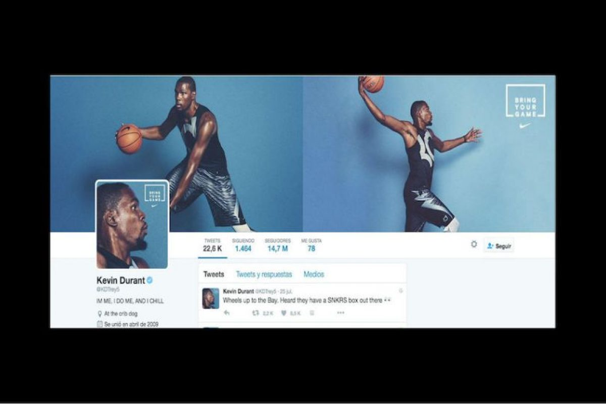 2. Kevin Durant (@KDTrey5) – 14.7 millones Foto: Twitter