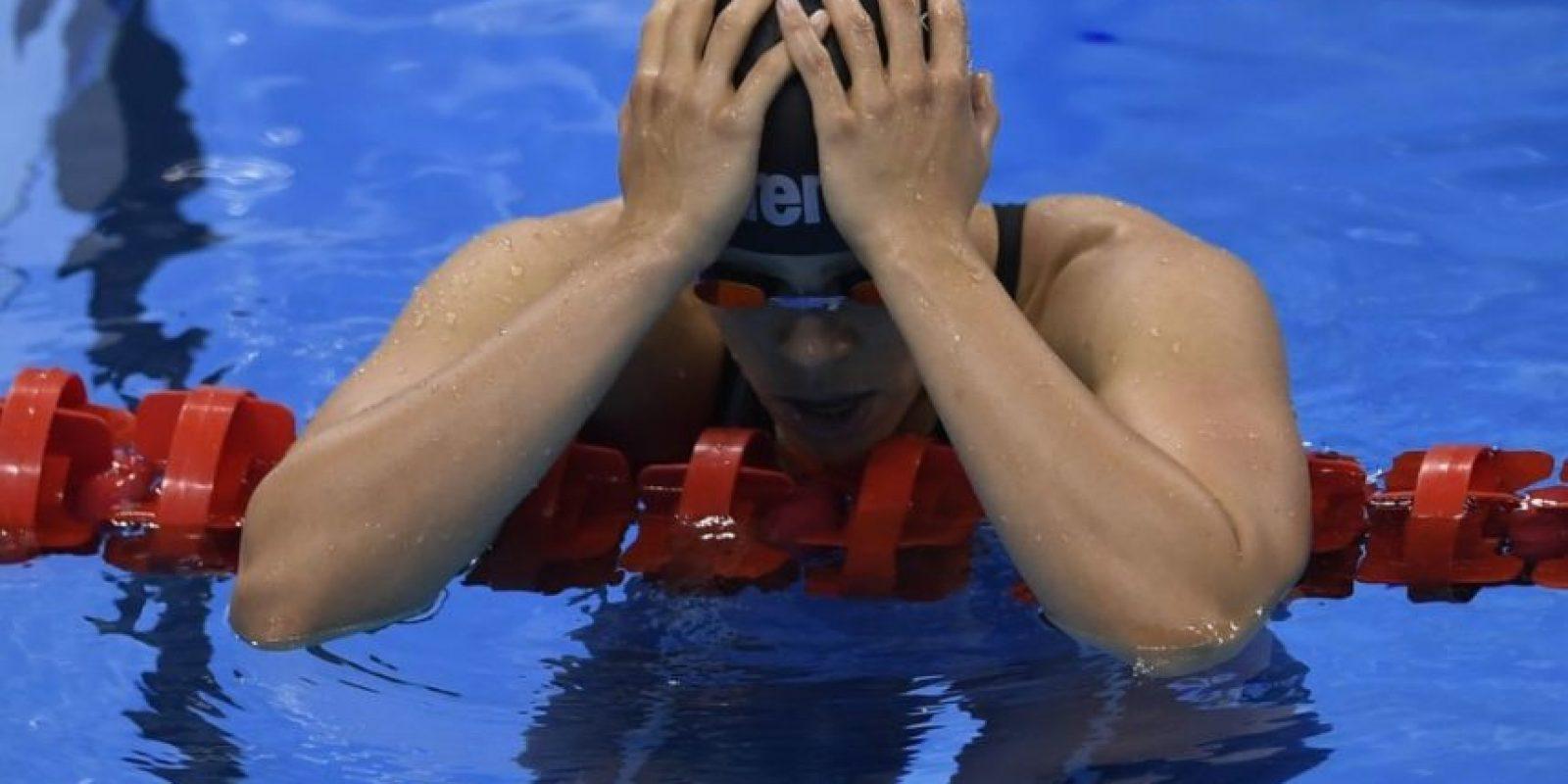 La alemana Franziska Hentke, al ser eliminada en la semifinal de mariposa de 200