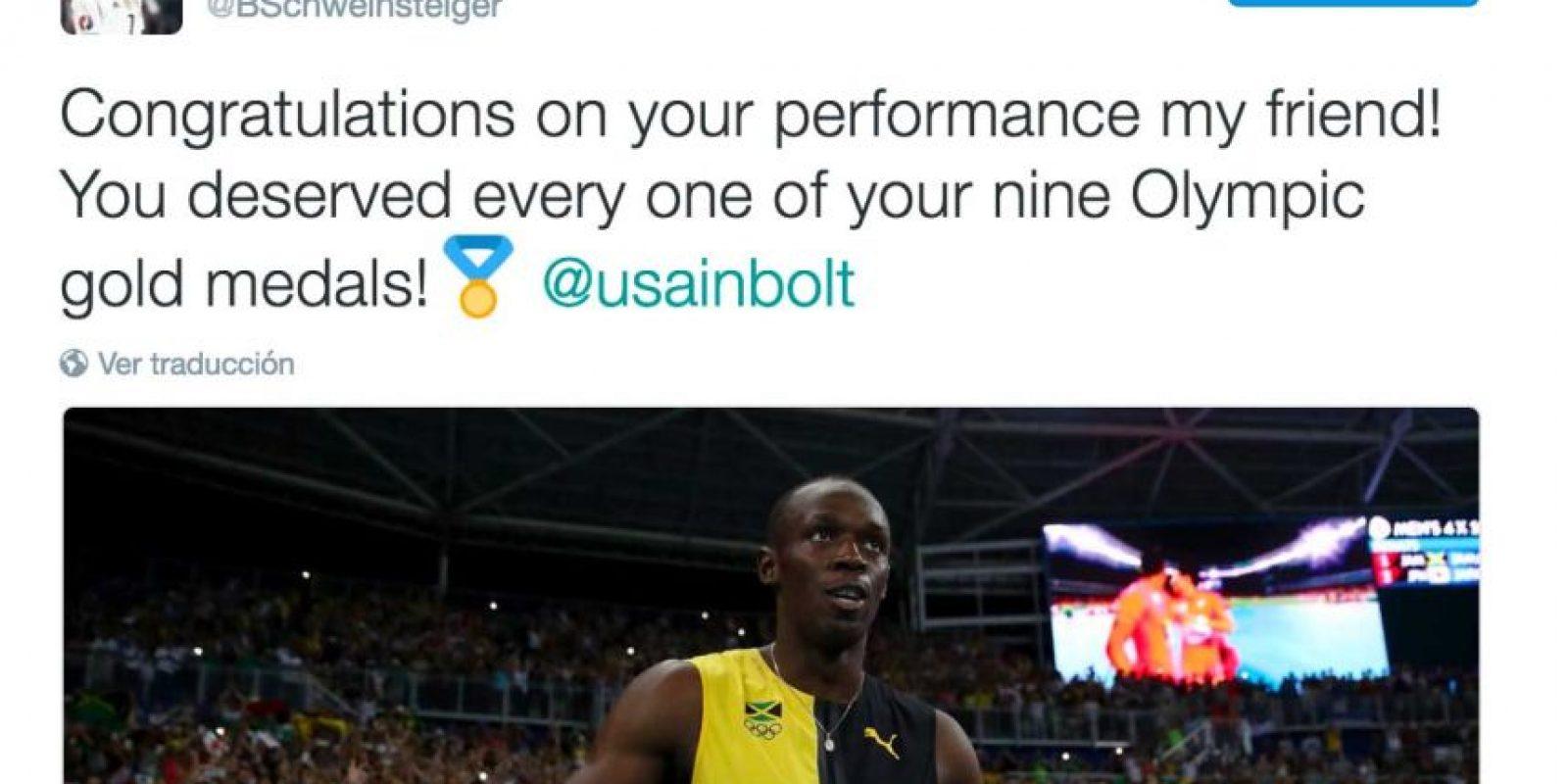 """""""Felicidades por tu actuación, amigo. Te mereces cada una de tus nueve medallas olímpicas"""", publicó Bastian Schweinsteiger. Foto:Twitter"""