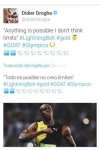 """""""Todo es posible, no pienso en límites"""", escribió Didier Drogba. Foto:Twitter"""
