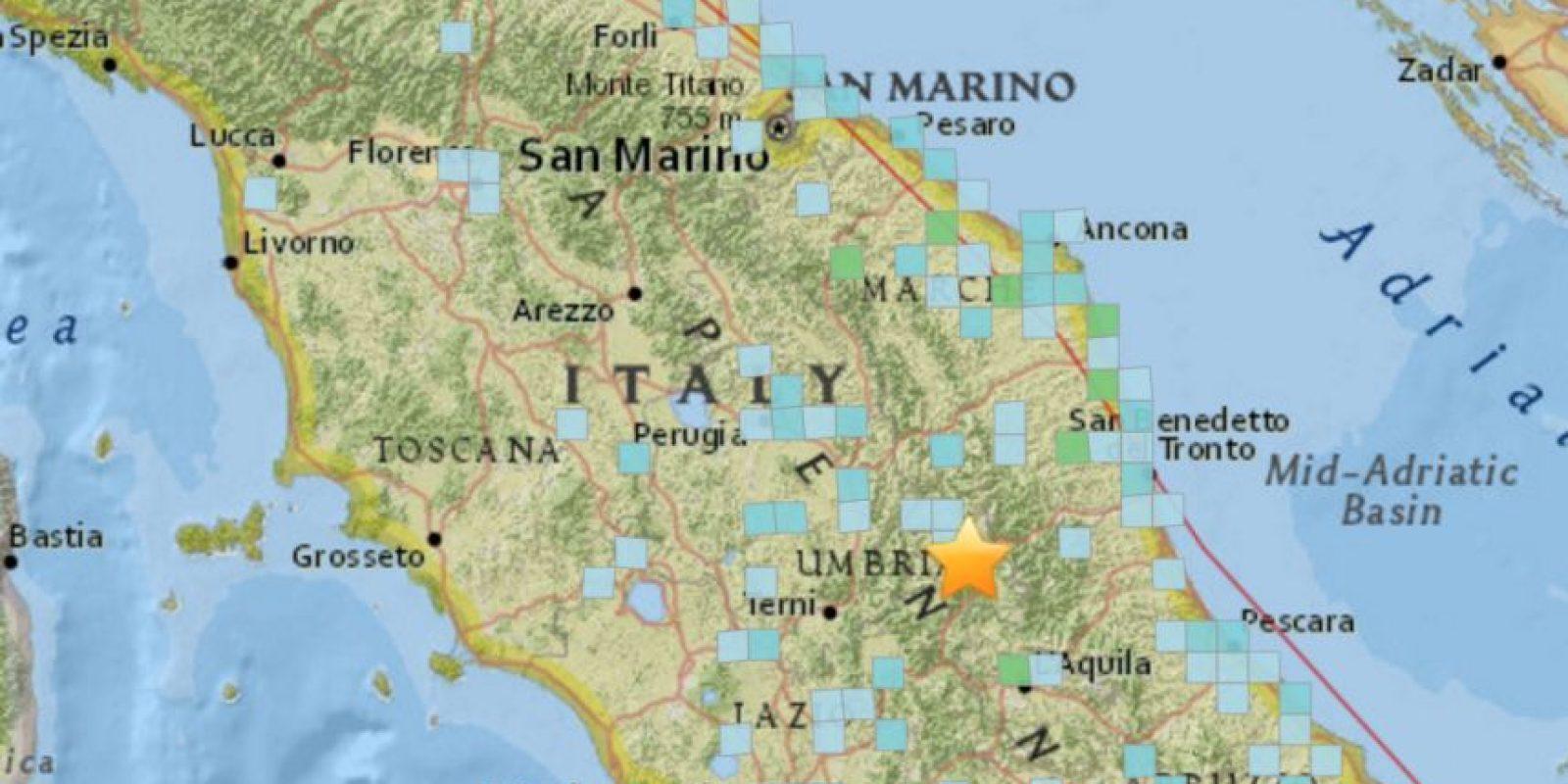 Las ciudades donde se sintió el movimiento telúrico. Foto:USGS