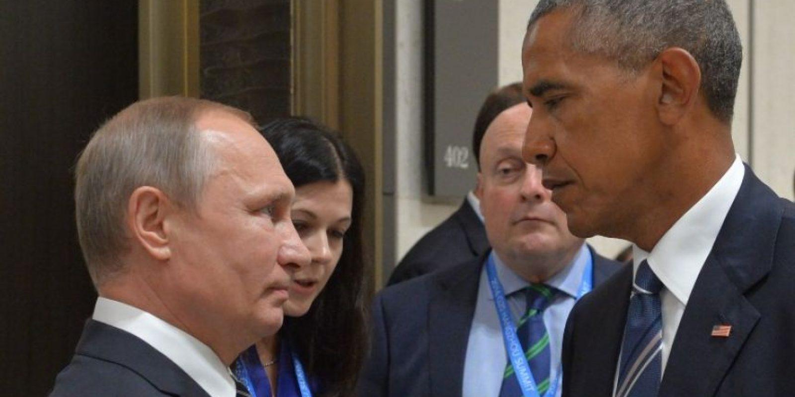 Este fue el momento entre Vladimir Putin y Barack Obama Foto:AFP
