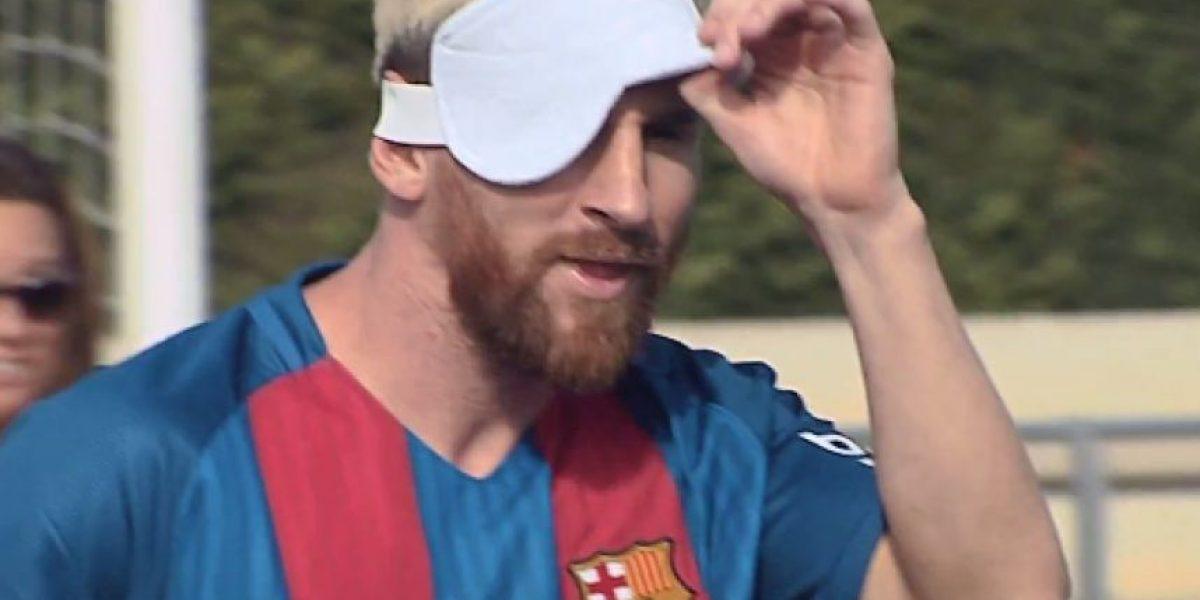 Lionel Messi aprende a jugar sin ver con Selección Paralímpica