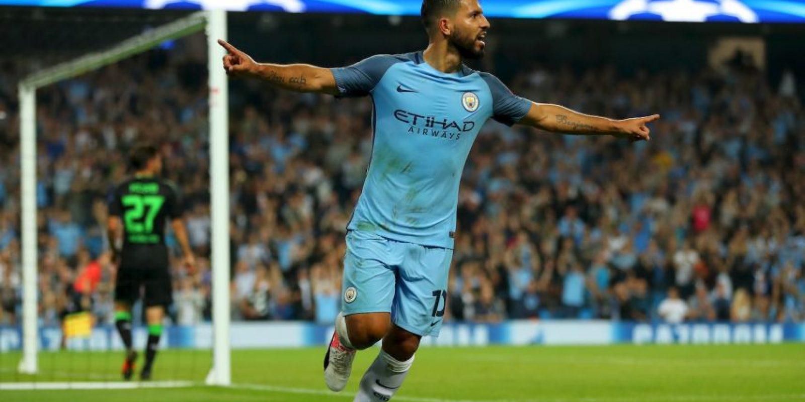 El argentino se lució con un triplete en la victoria de Manchester City por 4 a 0 ante Borussia Monchengladbach Foto:Getty Images