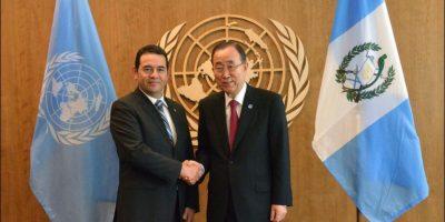 Una reunión con Ban Ki-moon marca el inicio del segundo día de trabajo de Jimmy Morales en la ONU