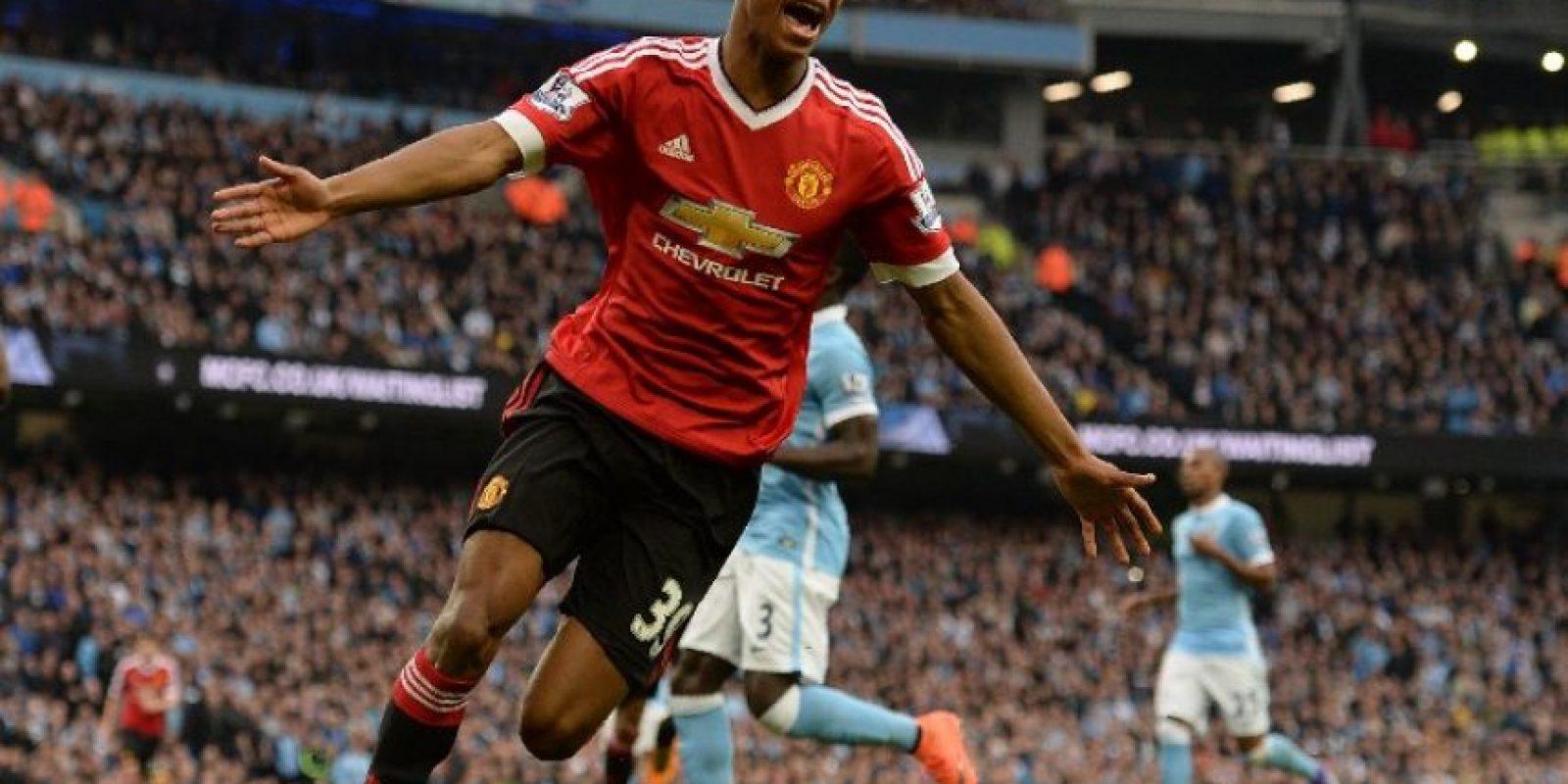 Marcus Rashford celebra un gol con el Manchester United. Foto:AFP