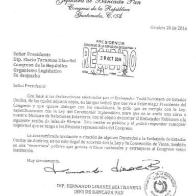 Carta del diputado y constitucionalista Fernando Linares Beltranena