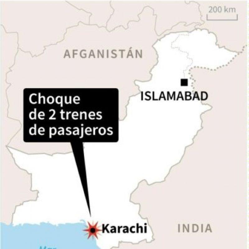 Localización del accidente ferroviario en Karachi, Pakistán Foto:Vincent LEFAI/afp.com