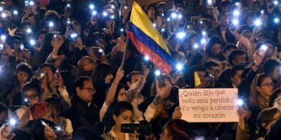 Manifestantes por la paz en Bogotá el 20 de octubre de 2016 Foto:Guillermo Legaria/afp.com