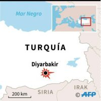 Localización de la explosión en Diyarbakir, 'apital' del sureste del Turquía con una población kurda en su gran mayoría Foto:P. Deré/P. Defosseux/afp.com