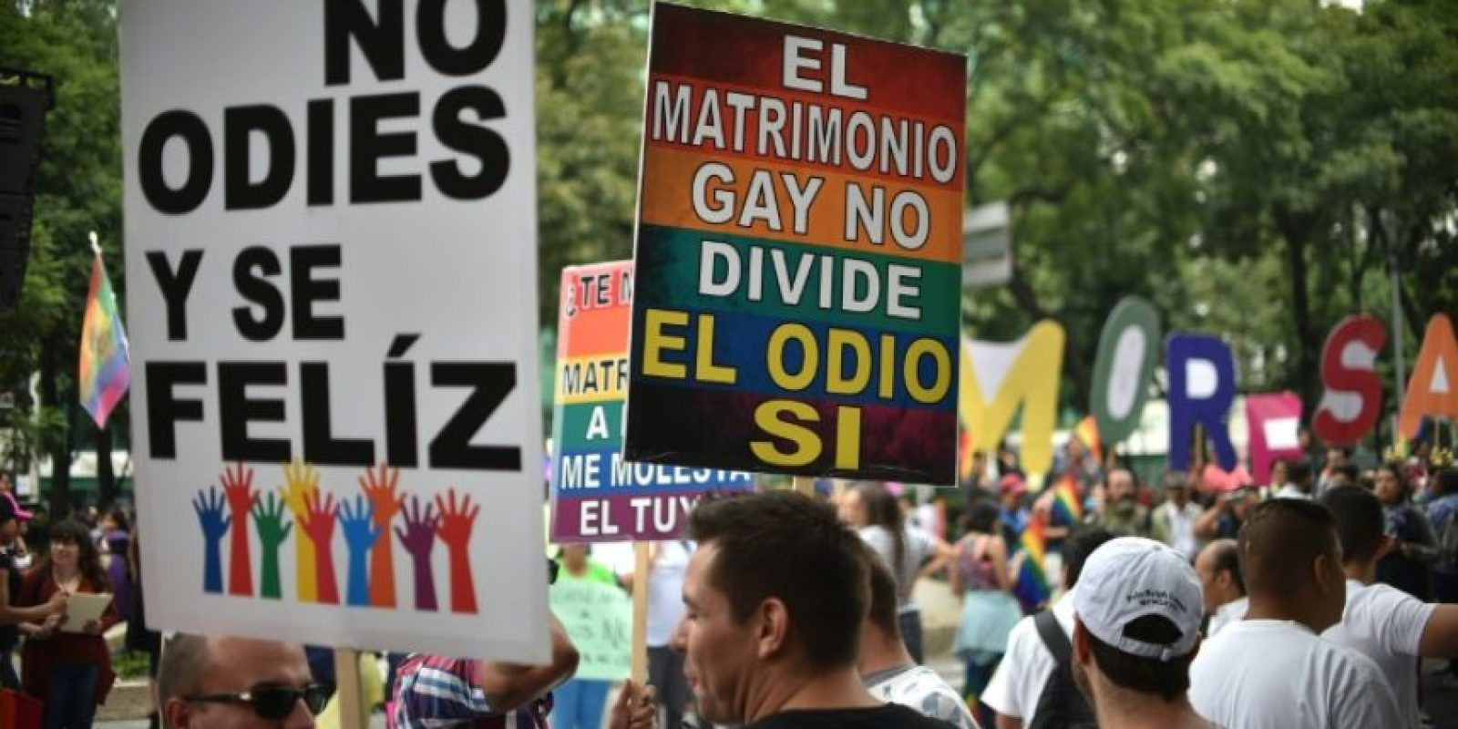 Activistas y miembros de la comunidad LGBT se manifiestan a favor del matrimonio igualitario en Ciudad de México, el 24 de septiembre de 2016 Foto:Yuri Cortez/afp.com