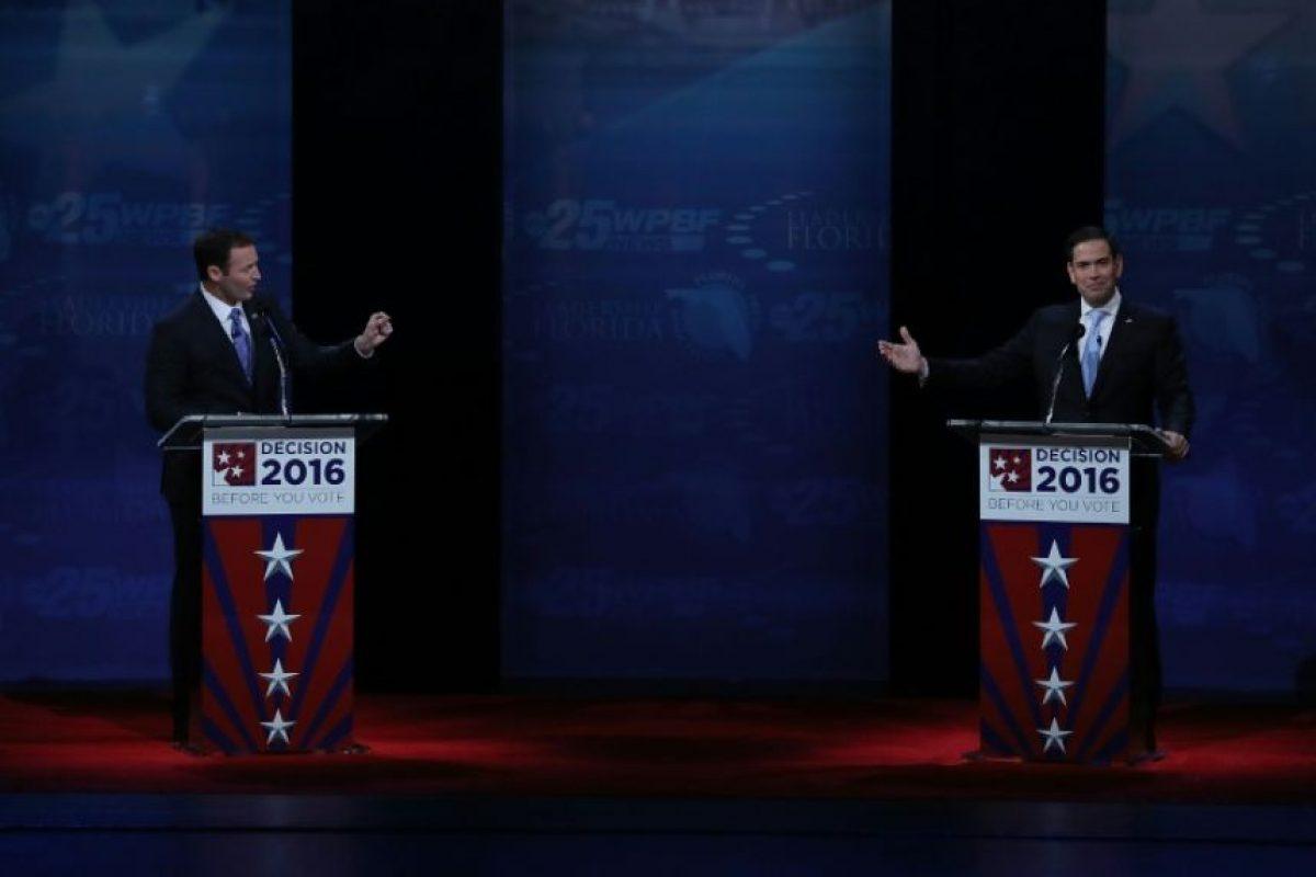 El senador por Florida Marco Rubio (D) y su contrincante demócrata, el legislador Patrick Murphy, en un debate en el Broward College, el 26 de octubre de 2016 Foto:Joe Raedle/afp.com