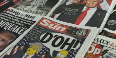 Primeras páginas de los periódicos británicos con las reacciones a la victoria del republicano Donald Trump en las elecciones presidenciales estadounidenses, el 10 de noviembre de 2016 en Londres Foto:Benjamin Fathers/afp.com