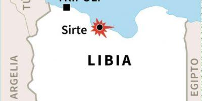 """Mapa de Libia con la localización de Sirte, donde las fuerzas del gobierno libio de unidad nacional (GNA) lanzaron """"la última fase"""" de la ofensiva contra las posiciones que todavía controla el grupo yihadista Estado Islámico (EI) Foto:Laurence SAUBADU, Jonathan JACOBSEN/afp.com"""