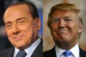 Combinación de fotografías creada el 10 de noviembre de 2016, en la que aparecen el exprimer ministro italiano, Silvio Berlusconi (izda.), y el presidente electo estadounidense, Donald Trump (dcha.) Foto:Timothy A. Clary, Tiziana Fabi/afp.com