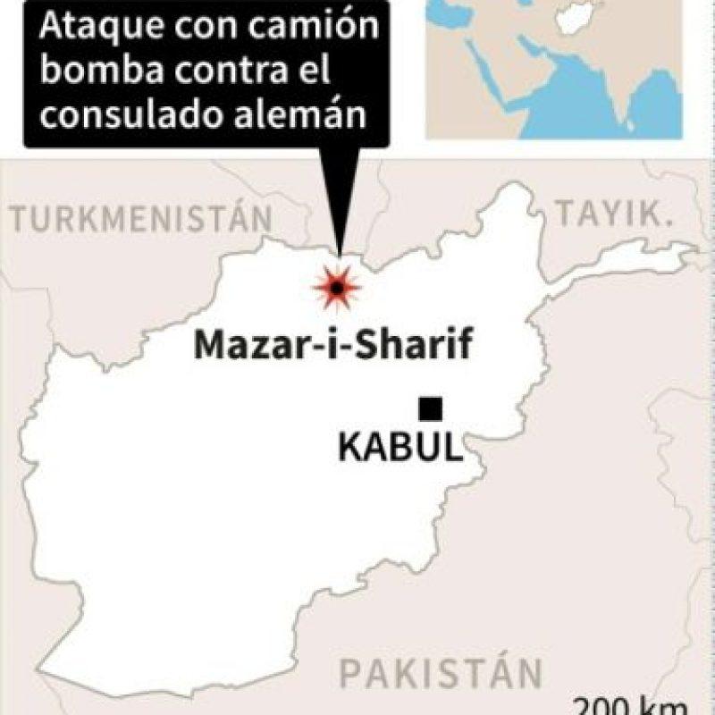 Localización del ataque contra un consulado alemán en la ciudad afgana de Mazar-i-Sharif Foto:AFP /afp.com