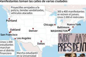 Mapa localizando las ciudades en las que se registraron manifestaciones contra la elección de Donald Trump a la presidencia de Estados Unidos Foto:Laurence SAUBADU, Anella RETA/afp.com