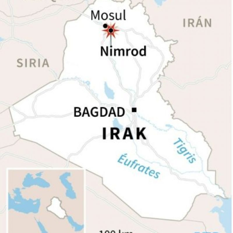 Mapa de localización de Nimrod, en Irak Foto:Vincent LEFAI, Jonathan JACOBSEN/afp.com