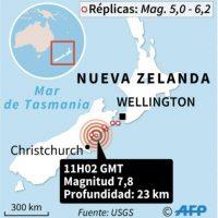 Mapa con localización del terremoto en Nueva Zelanda Foto:Jean Michel CORNU, Jonathan JACOBSEN/afp.com