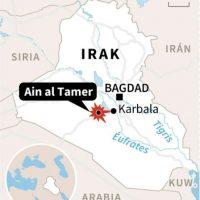 Mapa con localización del atentado en Ain al Tamer, al sur de Bagdad Foto:Jose Vicente BERNABEU/afp.com