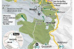 Mapa de la región de Mosul con los puntos clave de la situación militar, fuerzas desplegadas, movimientos de tropas y conquista de Nimrod Foto:Vincent LEFAI, Jean Michel CORNU/afp.com