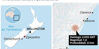 Mapa de localización del epicentro del terremotoo de magnitud 7,8 en Nueva Zelanda Foto:John SAEKI, Laurence CHU/afp.com
