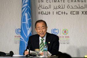 Ban Ki-moon, secretario general de la ONU, habla en la Conferencia sobre el Cambio Climático de Marrakech, en Marruecos, el 15 de noviembre de 2016 Foto:Fadel Senna/afp.com