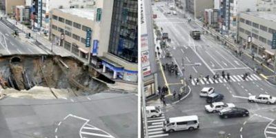 Japoneses repararon socavón en apenas una semana