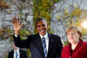 El presidente estadounidense, Barack Obama, y la canciller alemana, Angela Merkel, a su llegada a la Cancillería, en Berlín el 17 de noviembre de 2016 durante la visita oficial del mandatario norteamericano Foto:Tobias Schwarz/afp.com