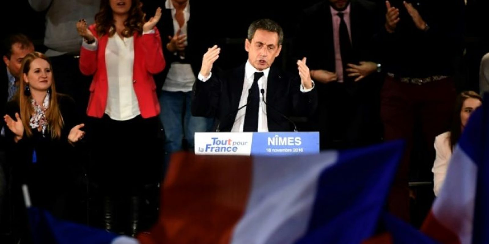 El expresidente francés y candidato a las primarias de la derecha para las elecciones de 2017, Nicolas Sarkozy, gesticula durante un mitin en Nimes, el 18 de noviembre de 2016 Foto:Pascal Guyot/afp.com