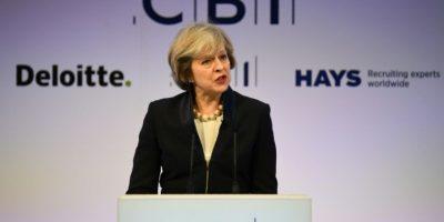 La primera ministra británica, Theresa May, durante la conferencia anual en Londres de la Confederation of British Industry (CBI), la principal organización patronal del país, el 21 de noviembre de 2016 Foto:Justin Tallis/afp.com