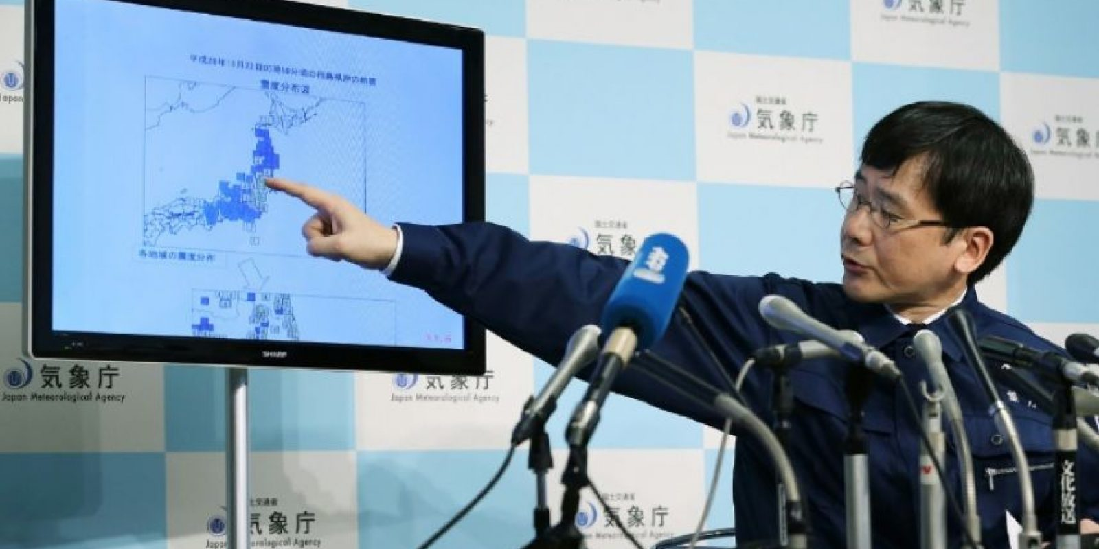 El funcionario de la Agencia Meteorológica Nacional de Japón, Koji Nahkamura, durante una conferencia de prensa el 21 de noviembre de 2016 en Tokio Foto:JIJI PRESS/afp.com