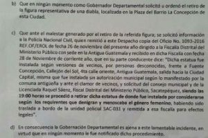 Comunicado de Gobernación de Sacatepéquez. Foto:Cortesía