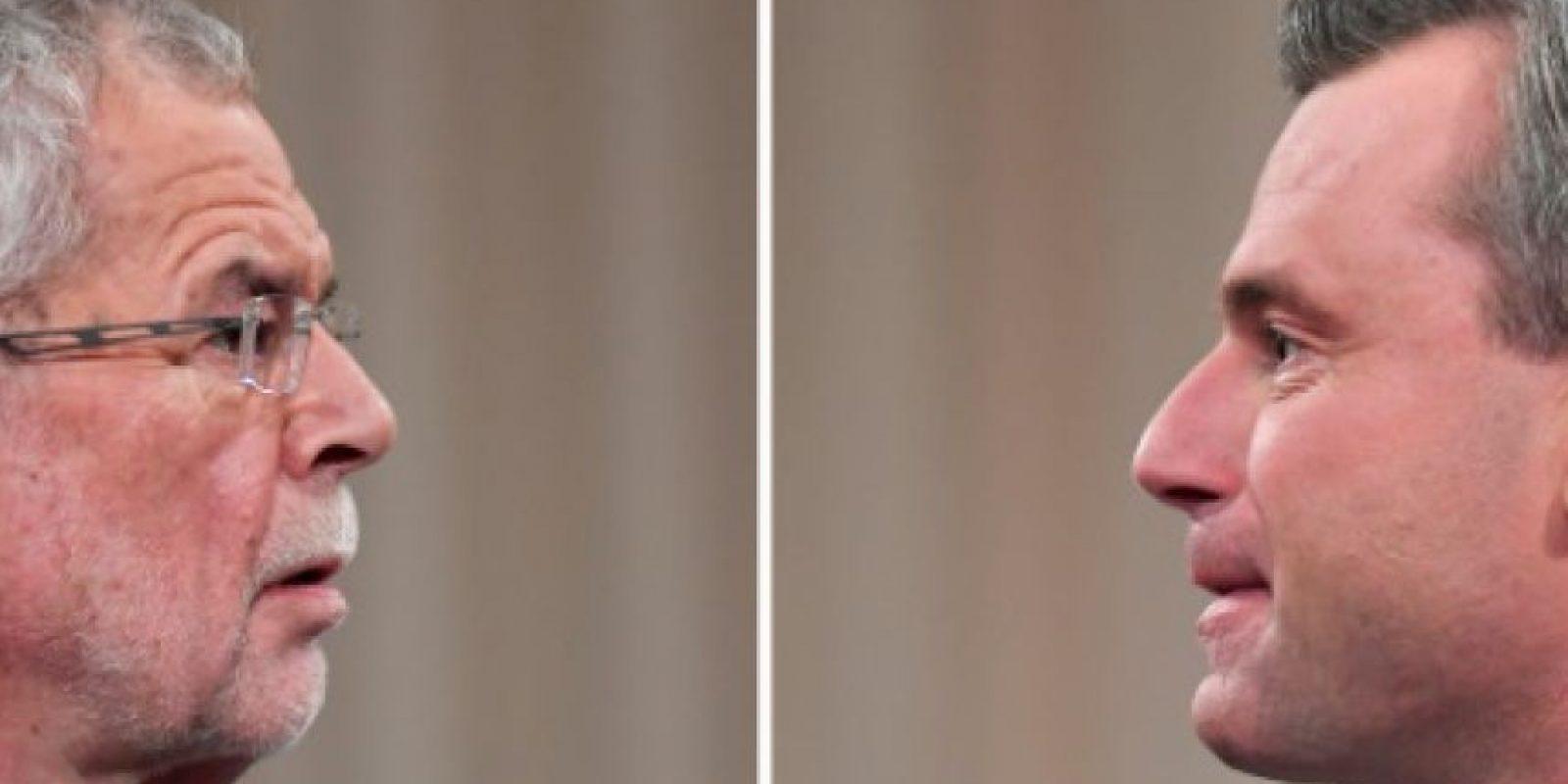 Los candidatos presidenciales austríacos Alexander Van der Bellen (izq), por los Verdes, y Norbert Hofer, por la ultraderecha del FPOE, en un debate televisado en Viena el 27 de noviembre de 2016 Foto:Joe Klamar/afp.com