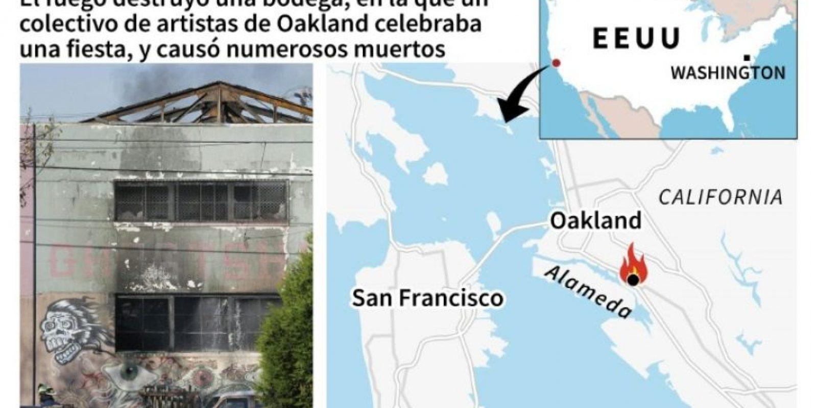 Numerosas personas murieron en el incendio registrado en un edificio en el que un colectivo de artistas de Oakland, cerca de San Francisco (oeste de EEUU), celebraba una fiesta Foto:Marimé Brunengo/afp.com